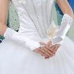 Mănuși de nuntă Ruched Romantic toamna Beach Taffeta