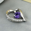Violet de argint inima in forma de diamante bijuterii femei colier