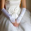 Imbracaminte fara imbracaminte Manusi lungi alb Vintage elastice de nunta din satin