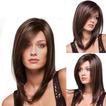 Perruque 40-45 cm lungă drept înclinat bangs lung drept drept pentru femei