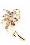Inlaid diamant frunze de primă clasă Crystal Femei Flori broșă