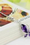 Moda violet Inlaid diamant Insect Colier de argint