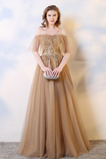 Rochie de bal Dantelă sus Talie naturale Romantice De pe umăr