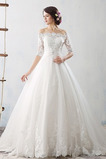 Rochie de mireasa Iarnă Bateau Satin Lung Fara spate Biserică