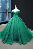 Rochie de bal Nuntă De pe umăr A-linie Talie naturale Mâneci plafonate