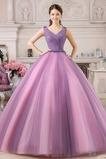 Rochie de bal Formale Sheer Înapoi Tul Fără mâneci Drapat Etaj lungime