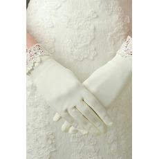 Îmbrăcăminte din dantelă potrivită pentru satin, mănuși de nuntă scurte