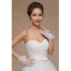 Mănuși de nuntă perle scurte de vară alb decor subțire