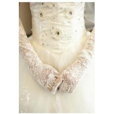 Mănuși de nuntă negru translucid toamna dantelă umbra dantelă tesatura