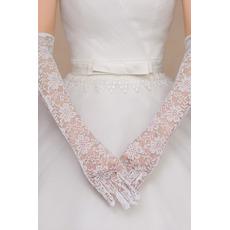 Mănuși de nuntă dantelă țesătură ceremonială deget plin