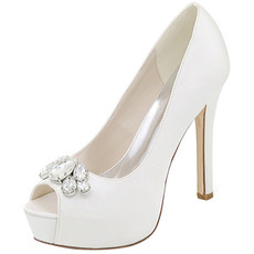 Încălțăminte de seară pantofi de nuntă strasi sexy pește gură pantofi de nunta cu toc înalt sandale stiletto