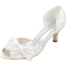 Încălțăminte de nuntă plus mărime pantofi singuri arc sandale de satin