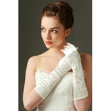Mănuși de nuntă adecvate complet deget broderie satin rece