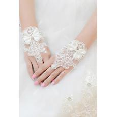 Mănuși de nuntă scurte fără bretele decorare dantelă tesatura mitten