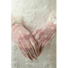 Mănuși de nuntă de dorit translucid scurt fildeș de decorare