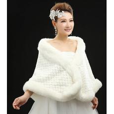Nunta de șal elegantă de iarnă fără mâneci blană în aer liber