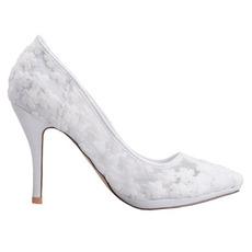 Dantelă de gură superficială, cu adâncime, încălțăminte brodată flori brodate cu tocuri înalte pantofi de nunta albi