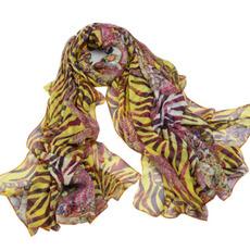 Eșarfă de vară reale de mătase ciucuri de imprimare violet extra lung