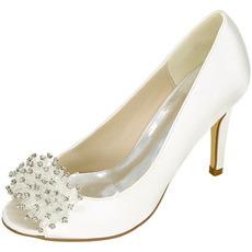 Pantofi pentru femei de nuntă gură superficială cap de pește tocuri înalte stras pantofi singuri sandale pentru rochii de banchet