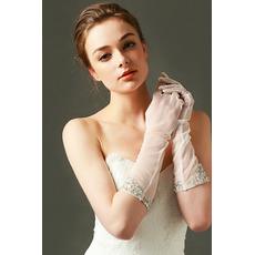 Mănuși de nuntă Tulle umbra dorit perla toamna plin deget