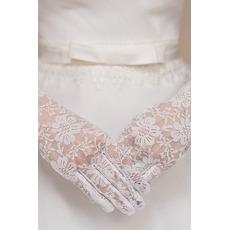Mănuși de nuntă scurte alb eternă dantelă multifuncțională