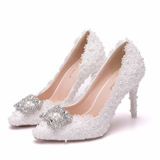 Pantofi de mireasa singuri din stras pantofi de petrecere dantela