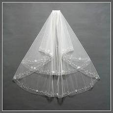 Nunta voal multi strat margine perla decorare chic primavara