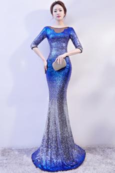 Rochie de bal Bateau Talie naturală Elegant Fermoar Iarnă Maneci trei sferturi