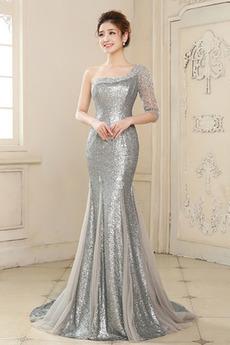 Rochie de seara Sirenă Asimetric mâneci Fermoar Elegant Mătura