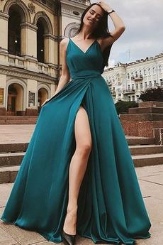 Rochie de seara Elegant Spațiul frontal Mătura A-linie Satin șifon