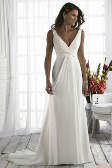 Rochie de mireasa Fara spate Romantice Vară Plisat zeiţă Argint