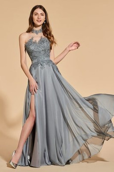 Rochie de bal Un gât înalt Sifon Elegant Mediu Triunghi ori Talie naturale