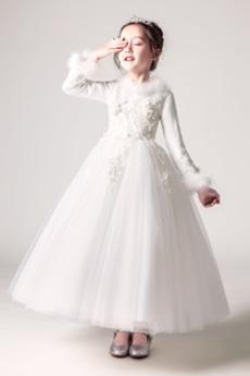 Rochie florăreasă A-linie Iarnă V gâtului Fermoar Tricou Satin
