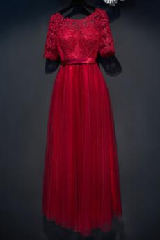Rochie de domnişoară de onoare Tul Dantelă sus Luxos Vară Iluzia mâneci