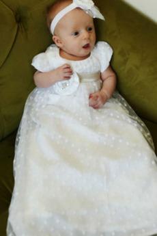 Rochie de botez Prințesă Tul Arc accentuată Lung Talie imperiu
