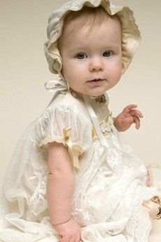 Rochie de botez Mare acoperit Lungime podea Printesa Modest Balon mâneci