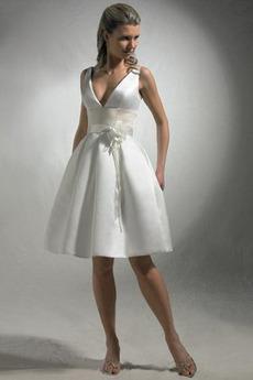 Rochie de mireasa În aer liber Danila Neoficial Fermoar V-gât adânc