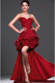 Rochie de cocktail Sexy Fără mâneci Taftă Întuneric Roşu Multi strat