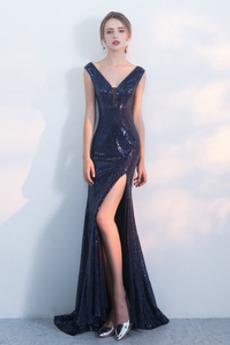 Rochie de bal Sirenă Mingea V-gât adânc Mediu Fermoar Etaj lungime