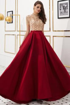 Rochie de seara A-linie Etaj lungime Fermoar Bijuterie Formale