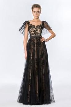 Rochie de seara Dantelă Tul Primăvară Etaj lungime Elegant Fără mâneci