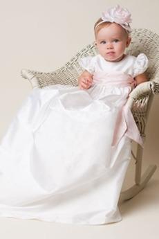 Rochie de botez Rozetă accentuată Înalt acoperit Lanternă Bijuterie