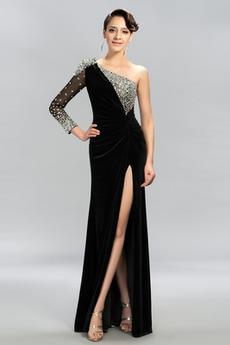 Rochie de bal Sexy Mâneci lungi Şifon Etaj lungime Mediu Un umăr