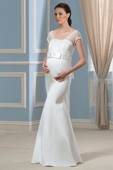 Rochie de mireasa Mâneci scurte Elegant Talie imperiu Plajă Satin