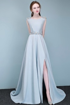 Rochie de bal Fără mâneci Fermoar Elegant Talie naturală Bateau