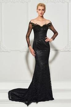 Rochie de seara Sirenă Performanță Suprapunere de dantela Iluzia mâneci