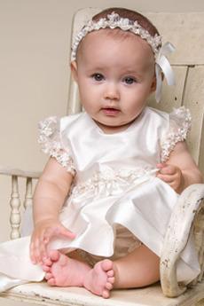 Rochie de botez Lungime de glezna Rozetă accentuată Talie naturală