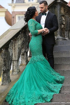 Rochie de seara Sirenă Lung Tricou Dantelă sus Elegant De pe umăr