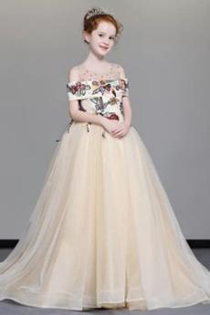 Rochie florăreasă Tul De pe umăr Iarnă A-linie Fermoar Etaj lungime
