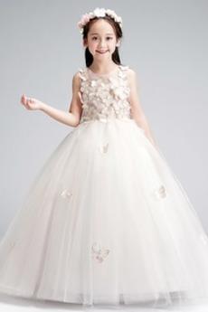 Rochie florăreasă Mediu Flori Lungime de glezna A-linie Ceremonie